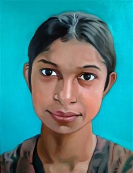 Takumi Kata (TAKU) - An Expressive Girl at Dhaka Acrylic on Canvas, Paintings