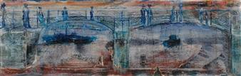 François-Jérôme Bringuier - Souls of the Bridge Oil on Canvas, Paintings