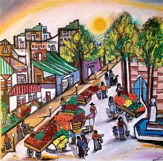 Rosalind Panda Dykla - Farmer's Market Oil on Canvas, Paintings