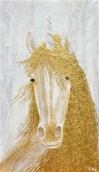 Diana Wunsch - Unicorn / Magic Room Acrylic & 24 Karat Gold on Canvas, Mixed Media