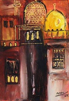 Amani Elbayoumi - Old Town Oil on Canvas, Paintings