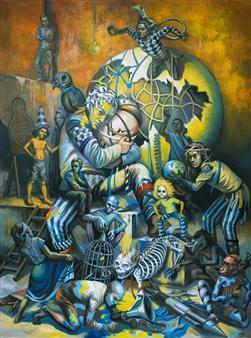 Mr. Sajja Sajjakul - Brotherhood Oil on Canvas, Paintings