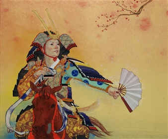 Akinori Ohtsuka - Mountain Warrior of the Heian Perio (And Plum Blossoms) Mixed Media on Japanese Paper, Mixed Media