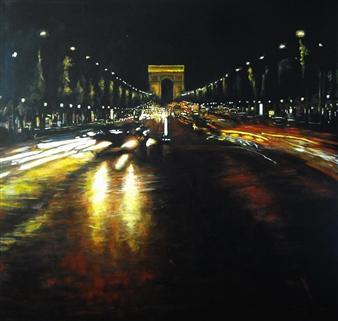Emanuele Biagioni - Caos Metropolitano Acrylic on Board, Paintings