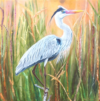 Pamela Sullivan - Heron Oil on Canvas, Paintings