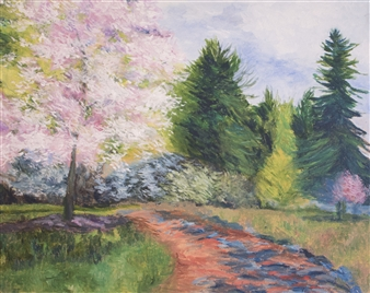 Margaret Adams - April Day Oil on Canvas, Paintings