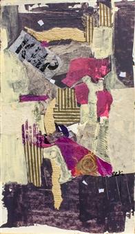 Pauline Rakis - Sunset Acrylic & Collage on Canvas, Mixed Media