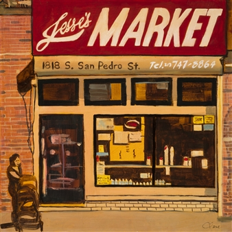 Clare Holzer - Jesse's Market Oil on Canvas, Paintings