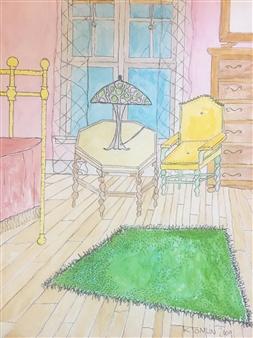 Richard Tomlin - Bedroom at Louise Street, Detroit Watercolor on Paper, Paintings