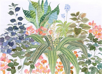 Charmaine Nadine Osaerang - Colorful Bunch Watercolor on Paper, Paintings