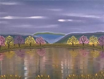 Svetlana Nelson - Autumn Lake 1 Oil on Canvas, Paintings