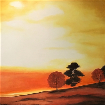Chadwick Arcinue - Fall Sunset Oil on Canvas, Paintings