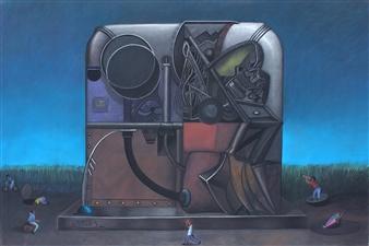 Pedro Vargas - Maquina para Viajar al Centro del Universo Pastel on Paper, Paintings