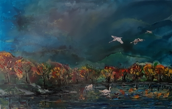 Anders Ekelund - Swans at the Lake Acrylic on Canvas, Paintings