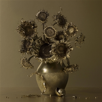 Art Golacki - Still Life in Gold with Vincent's Sunflowers / second variation Archival Pigment Print, Photography