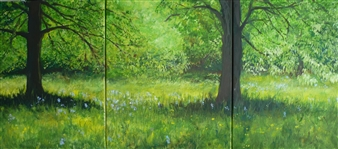 Lizzy Forrester - Bluebell Woodland Triptych Oil on Canvas, Paintings