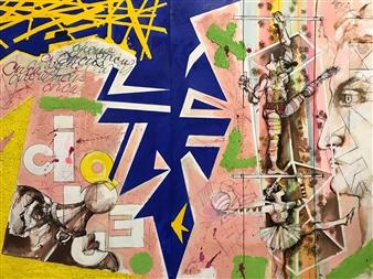 Michael Dolen - Circus Figures 819G Mixed Media on Paper, Mixed Media