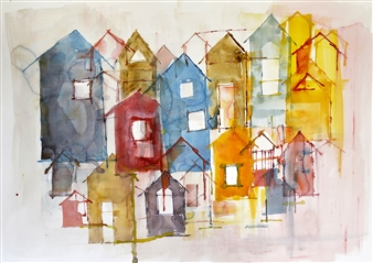 Kerstin Lundin - Ambitious Watercolor on Paper, Paintings
