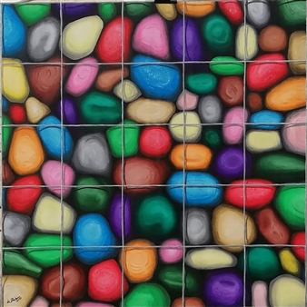 Di Stefano - Sassi in gabbia 1 (Caged Stones 1) Acrylic on Canvas, Paintings