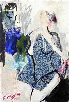 Riedstra Visual Artist - Velvet  in Blue I Mixed-Media on Khadi Paper, Mixed Media