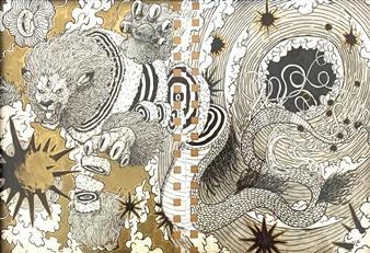 Michael Shelef - Dragon Black & Gold Ink Pens on Paper, Drawings