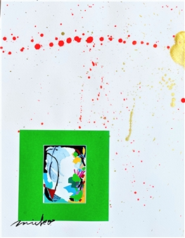Mieko Nakamura - Heart Flower 208 Paper & Paint, Mixed Media
