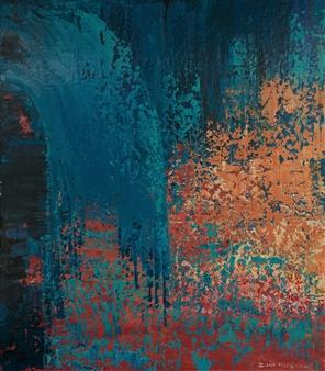 Zvia Merdinger - Red Carpet Mixed Media on Canvas, Mixed Media