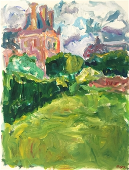 Susan Marx - Musee du Louvre and Musee d'Orsay from the Tuileries, Paris Acrylic on Canvas, Paintings