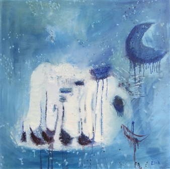 Else Husted Kjær - Blue Moon Oil on Canvas, Paintings