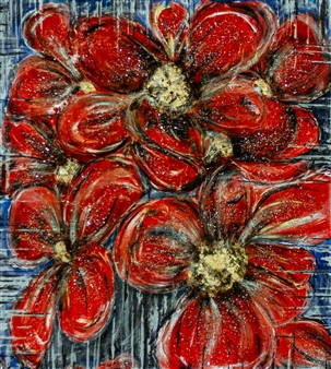 Olga Chajmova Holcova - Red Flowers Mixed Media & Acrylic on Canvas, Mixed Media