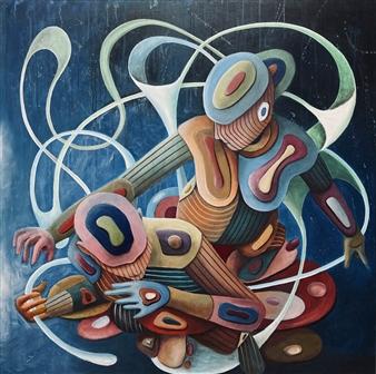 Don Kosta - Blue Acrylic on Canvas, Paintings