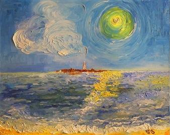 Dan Aug - Sun and Island Oil on Canvas, Paintings