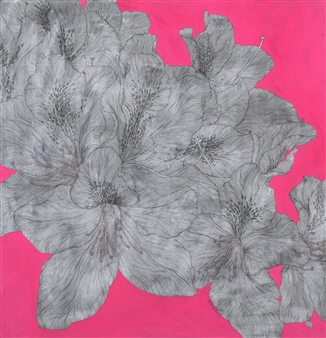 Su-Jeong NAM - Royal Azalea Blossoms Ink on Paper, Paintings