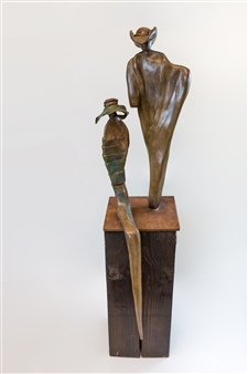 Anita Birkenfeld - Bonnie and Clyde Bronze, Sculpture