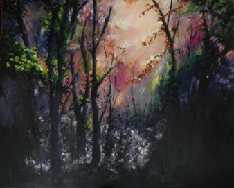 Lizzy Forrester - Enchanted Woodlands Oil on Canvas, Paintings