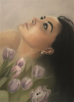 Cuquis Quiroz - Beauty Oil on Stretched Canvas Board, Paintings
