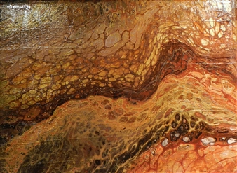 Patti Hodder - Red Rocks In Winter Acrylic on Wood, Paintings