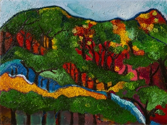 Bo Song - Korean Mountain 1 Oil on Canvas, Paintings