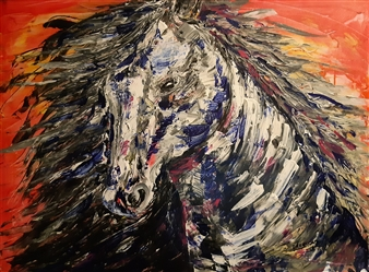 Anders Ekelund - White Horse Acrylic & Oil on Canvas, Paintings
