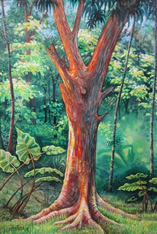 Gilberto Arriaza - Bosque Watercolor on Paper, Paintings