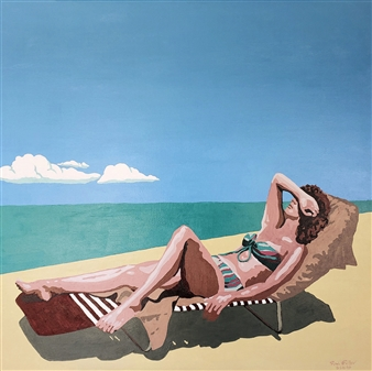 RW Fuller - Linda Sunbathing at Newport Beach Acrylic on Canvas, Paintings