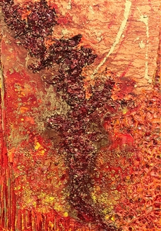 Crazy Rah Art aka Sarah Stott - Smouldering Rivers of Embers Mixed Media on Canvas, Mixed Media