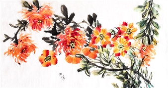 Raúl Mariaca Dalence - Conjunto Floral Watercolor & Ink on Paper, Paintings