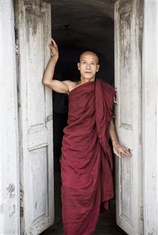 Safaa Kagan - Monk at Door Archival Pigment Print, Photography