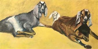 Jonathan Mann - Sharp-Waterford Farms' Goats Acrylic on Canvas, Paintings