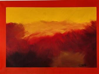 Natalia Gaviria - Sunset Sky Oil & Acrylic on Canvas, Paintings