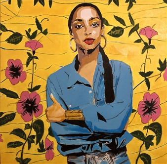 Monel Aliote - Sade Adu Acrylic & Oil on Canvas, Paintings