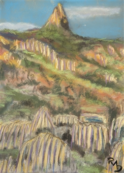Raul Mariaca Dalence - Muela del Diablo Pastel on Canvas, Paintings