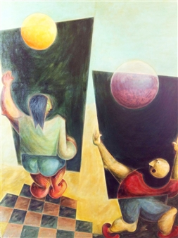 Julio Lopez Vietri - Shaping Space Oil on Cardboard, Paintings