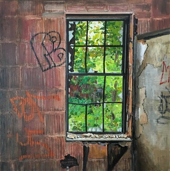 Daniel Loveridge - Empty Window Acrylic on Canvas, Paintings
